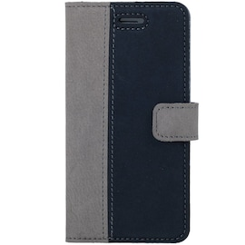 Oppo Reno 3- Surazo® Phone Case Genuine Leather- Nubuck Gray and Navy Blue