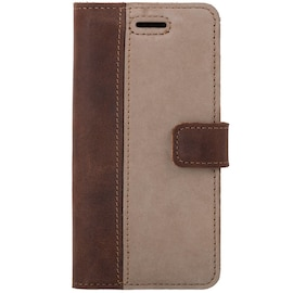 Oppo Reno 3- Surazo® Phone Case Genuine Leather- Nubuck Nut and Beige