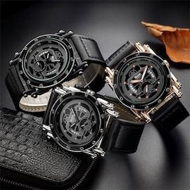 Oulm HP3399 Men PU Leather Strap Quartz Wrist Watch Two Time Zone Analog Display Sport Watch  Black