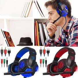 Over Ear Gaming Headset with Mic and LED Light for Laptop Cellphone PS4 Blue N/A