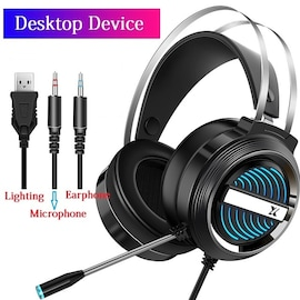 PC Gamer Stereo Headphone Flexible Adjustable Black