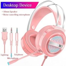 PC Gamer Stereo Headphone Flexible Adjustable Pink