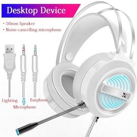 PC Gamer Stereo Headphone Flexible Adjustable White