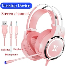 Pink USB Wired Earphone Headset PC Gamer Pink