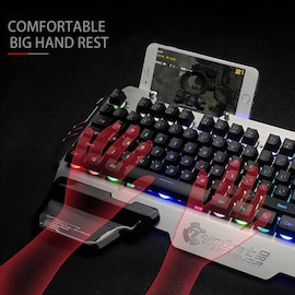 PK-900x Gaming Keyboard RGB Mixed Color Backlight 7pin Computer Keyboards with Mobile Phone Stand Holder for PC Laptop D Black