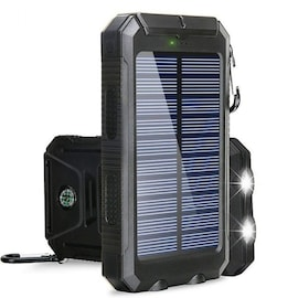 Powerbank Portable Solar External Waterproof Charger With LED Light 2USB - Black