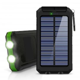 Powerbank Portable Solar External Waterproof Charger With LED Light 2USB - Green