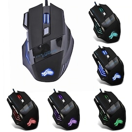 Professional Wired Gaming Mouse 7 Buttons LED USB Cable 5500DPI