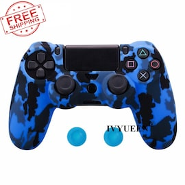 PS4 Controller Silicone Cover plus Thumb Grip Caps - Blue Camo