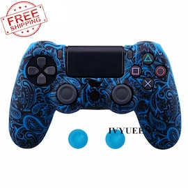 PS4 Controller Silicone Cover plus Thumb Grip Caps - Blue Leaf