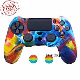 PS4 Controller Silicone Cover plus Thumb Grip Caps - Graffiti K