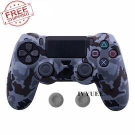 PS4 Controller Silicone Cover plus Thumb Grip Caps - Gray Camo