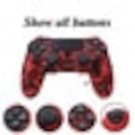 PS4 Controller Silicone Cover plus Thumb Grip Caps - Red Camo