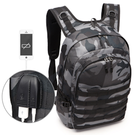 PUBG Backpack Men SchoolBag Battlefield Infantry Pack Camouflage Travel Canvas USB Charging Jack