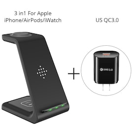Qi 3 in 1 Wireles Chargeing Station for Apple US Adapter Black
