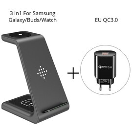 Qi 3 in 1 Wireles Chargeing Station for Samsung S10/Buds/Watch US Adapter Black