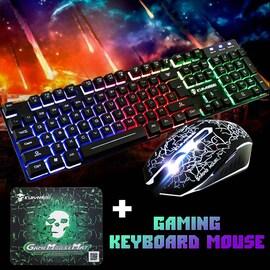 Rainbow Backlight USB Ergonomic Wired Gaming Keyboard + 2400DPI Mouse + Mouse Pad Set