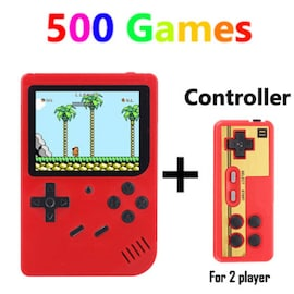 Retro Handheld Game Player Console, With 500 Preinstalled Vintage Games, Red Colour And Controller.