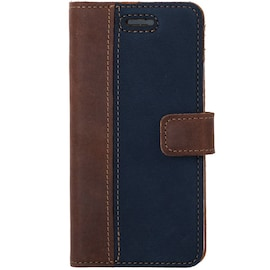 Samsung Galaxy A8 (2018)- Surazo® Phone Case Genuine Leather- Nubuck Nut and Navy
