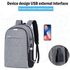 Shellnailx Waterproof Laptop Bag Travel Backpack Multi Function Anti Theft Bag For Men PC Backpack USB Charging For Macb Gray