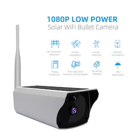 Solar Camera 1080P HD Solar Charging WiFi Camera Outdoor Night Vision Battery Camera 10m Infrared Distance