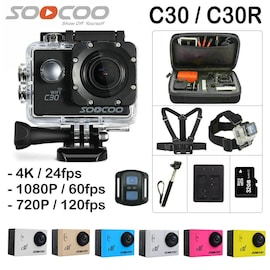 SOOCOO C30R Wifi 4K Sports Action Camera - Gyro 2.0 inch, LCD Screen, 30M Waterproof, Adjustable Angle Blue