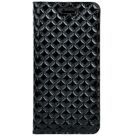 Surazo® Back Case Genuine Leather for phone Apple iPhone 12 - SM RFID - Quilted Diamonds - Gloss Bla
