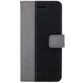 Surazo® Back Case Genuine Leather for phone Google Pixel 5 - Wallet Case - Nubuck Gray and Black
