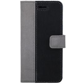 Surazo® Back Case Genuine Leather for phone Google Pixel 5 XL - Wallet Case - Nubuck Gray and Black