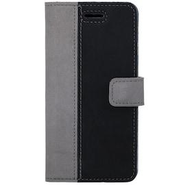 Surazo® Back Case Genuine Leather for phone Xiaomi Redmi 9 - Wallet Case - Nubuck Gray and Black