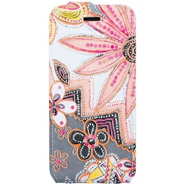 Surazo® Flip case Genuine Leather for smartphone Samsung Galaxy S9 Plus - Flowers Peach