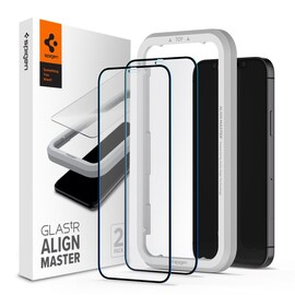 Szkło hartowane Spigen GLAS.tR AlignMaster Apple iPhone 12/12 Pro Black [2 PACK]