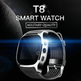 T8 Bluetooth Smart Watch Phone Mate SIM FM Pedometer for Android IOS iPhone Samsung Black