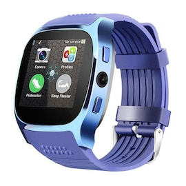 T8 Bluetooth Smart Watch Phone Mate SIM FM Pedometer for Android IOS iPhone Samsung Blue,Black. Black
