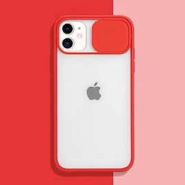Transparent Iphone Case soft camera cover and lens for Iphone X and XS Red