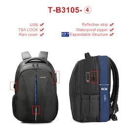 TSA Anti-theft laptop backpack Tigernu splash resistant 15.6 inch keyless | T-B3105-4