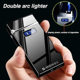 USB Electronic Charging lighter Dual Arc Plasmax Cigarette Lighter LED Power Windproof Electric Pulse Torch Lighters Gad