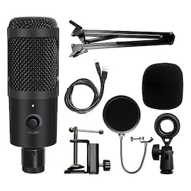 USB Microphone Condenser Recording Microphone Wired Mic with Stand and support