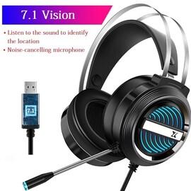 USB Wired Earphone Headset Black