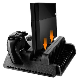 Vertical Stand with Cooling Fan and Dual Controllers Charging Station for PS4/PS4 Slim/PS4 Pro