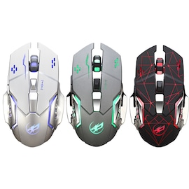 Warwolf Q8 Wireless Mouse Optical Mouse Gaming Silent USB Rechargeable 1600dpi for PC Laptop Computer   Silver N/A