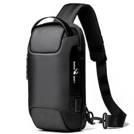 Waterproof Anti-theft Oxford Crossbody Bag with USB  Black