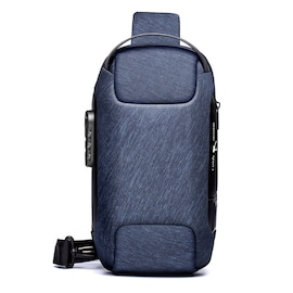 Waterproof Anti-theft Oxford Crossbody Bag with USB Blue