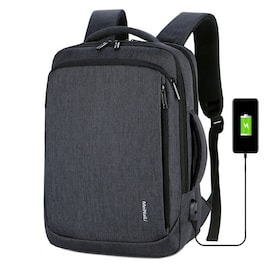 Waterproof BackpackLaptop for Business and Travel with USB Charging Dark Grey