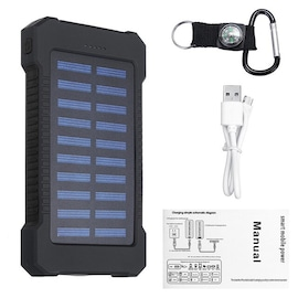 Waterproof Solar Charger Powerbank with LED Light - Black