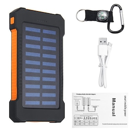 Waterproof Solar Charger Powerbank with LED Light - Orange