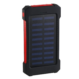 Waterproof Solar Charger Powerbank with LED Light - Red