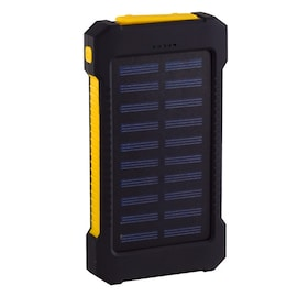 Waterproof Solar Charger Powerbank with LED Light - Yellow