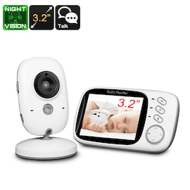 Wireless Baby Monitor - 3.2 Inch Display, Temperature Monitor, Dual-Way Audio, 2.4GHz Wireless, Play Songs