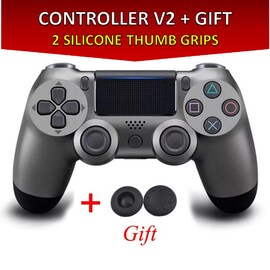 Wireless Controller for all SONY PS4 Consoles with GIFT 2 Thumb Grips for Dualshock 4 V2 Grey